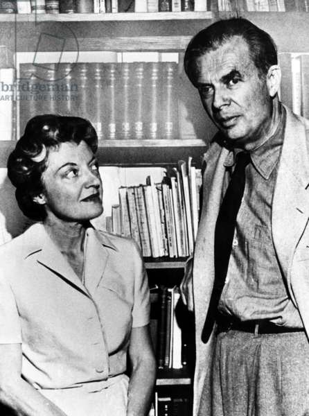 British author Aldous Huxley (1894-1963), and his second wife, Laura Archer,  1960