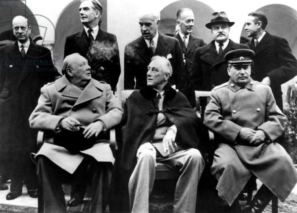 Winston Churchill, Franklin Delano Roosevelt and Josef Stalin during the Yalta Conference, February 1945