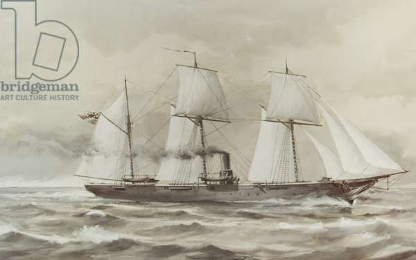USS KEARSARGE, by Clary Ray, American painting, watercolor, c. 1890s. USS Kearsarge was the sloop-of-war that sunk the Confederate raider CSS Alabama off Cherbourg, France in 1864, during the US Civil War (watercolour)