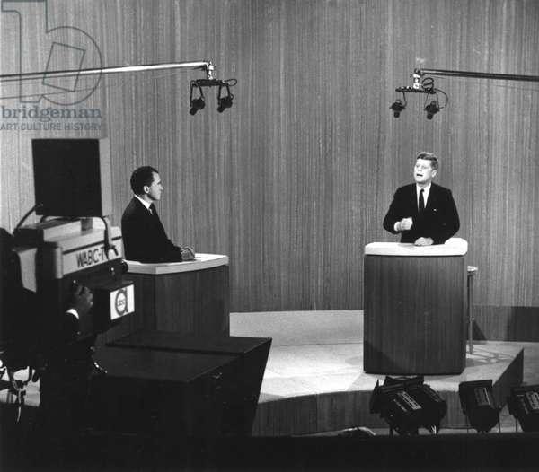 Richard Nixon and John F Kennedy at the Kennedy-Nixon debates, Sept-Oct. 1960