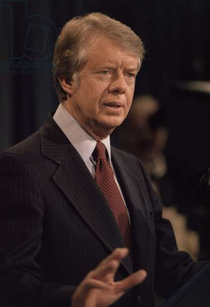 President Jimmy Carter speaking during a press conference. c. 1977-1980