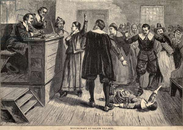 Salem Witch Trials. A women protests as one of her accusers, a young girl, appears to have convulsions. A small group of young women were the source of accusations, testimony, and dramatic demonstrations, that lead to the arrest of hundreds and execution of 19 people in Massachusetts in 1692