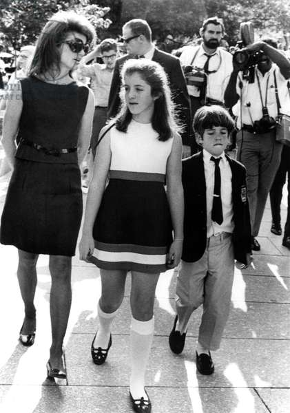 Jacqueline Kennedy, Caroline Kennedy, John F. Kennedy Jr., 6/6/69, at Arlington National Cemetery