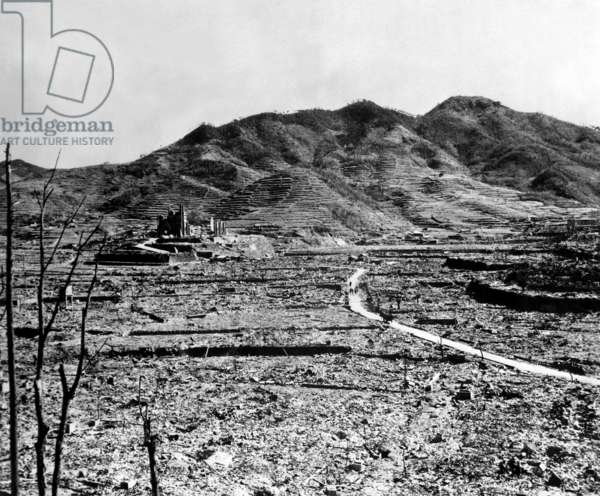 Ruins of Nagasaki, Japan, after atomic bombing of August 9, 1945. A Roman Catholic cathedral is on the distant hill. c. Sept.-Oct. 1945