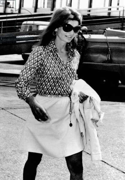 Jacqueline Kennedy Onassis walks through Rome's Leonardo da Vinci Airport. She was traveling from New York to Athens. Aug. 18, 1970