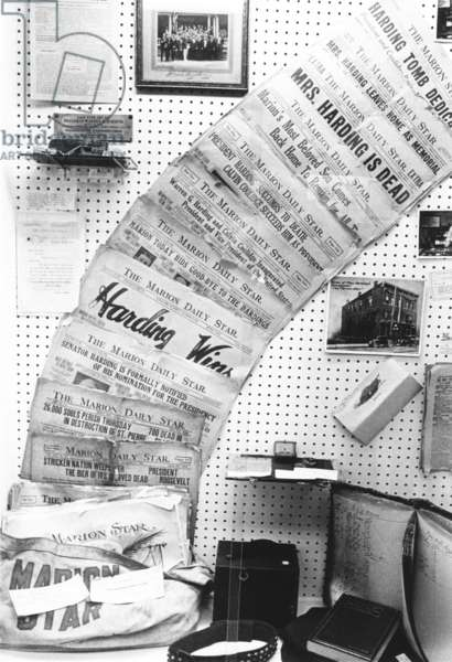 Warren Harding biography milestones in the headlines of his Newspaper, 'THE MARION DAILY STAR.' Display at the Harding Memorial Association in Marion. 1969