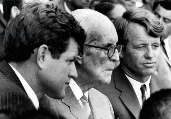 Senator Edward M. Kennedy, Joseph P. Kennedy, Senator Robert F. Kennedy, at the opening game of the 1967 World Series, October 4, 1967.