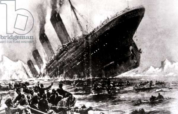 Artist's conception of the sinking of the Titanic, 1912