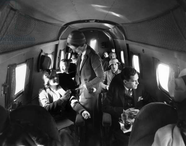 Interior of United Airlines Boeing airplane, 1935