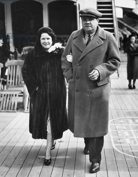 New York Yankees. Claire Hodgson Ruth and retired Yankees outfielder Babe Ruth, c.late 1930s