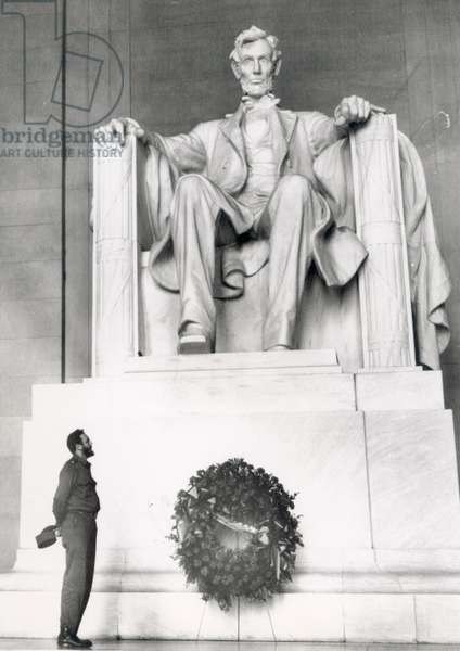 FIDEL CASTRO, Cuban Prime Minister, places a wreath at the Lincoln Memorial in Washington D.C. during his 11 day goodwill visit to win US support for his revolutionary regime, c. 1959