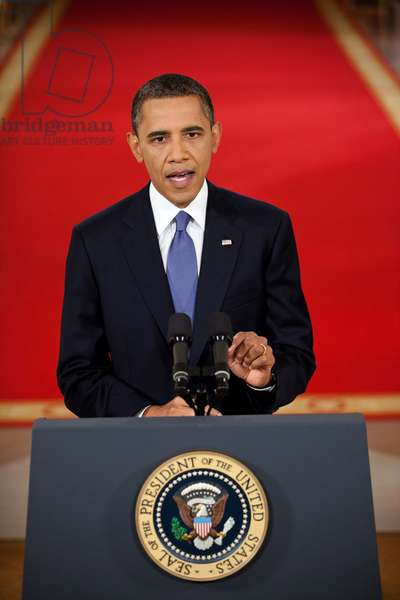 Barack Obama: President Barack Obama addresses the nation from the East Room of the White House to lay out his plan for implementing the draw down of American troops from Afghanistan, June 22, 2011.
