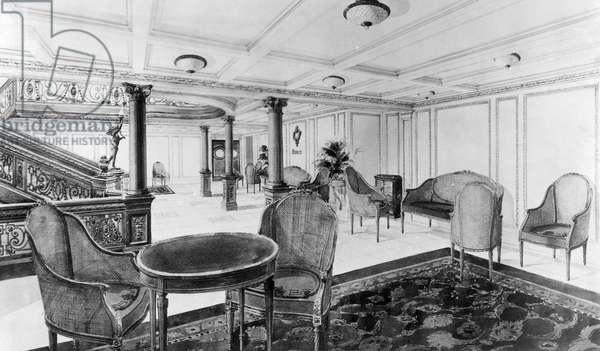 The restaurant reception room of the RMS Titanic, which sank after hitting an iceberg on its maiden voyage, 1912