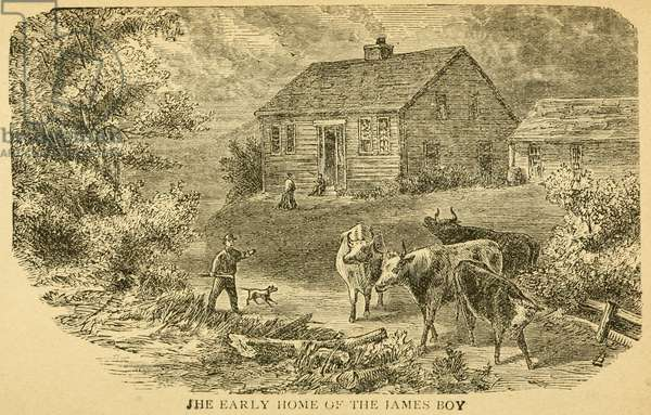 Early home of the James boys in Clay County, Missouri. James' father was a minister who died on his trip to prospect gold in California when Frank was nine and Jesse was four