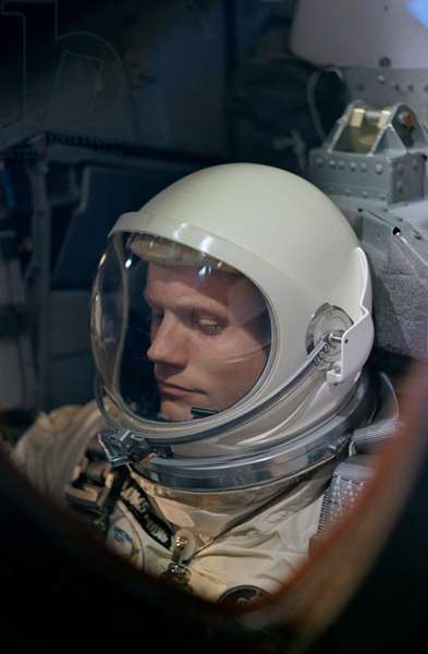 Astronaut Neil Armstrong before the launch of the Gemini 8 mission. Armstrong performed emergency procedures when a malfunctioning thruster threw the space capsule in to a dangerous roll. Dec. 21, 1968