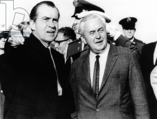 President Richard Nixon was met by British Prime Minister Harold Wilson at the Mindenhall Air Force Base, August 3, 1969