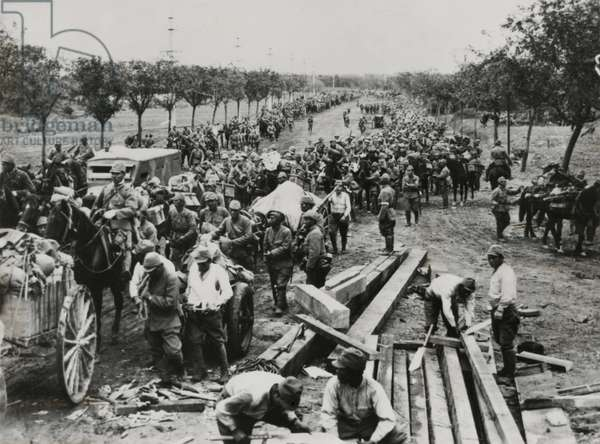Advance of a column of Japanese Troops on route from Shanghai to Nanking, China. Aug. 12, 1937