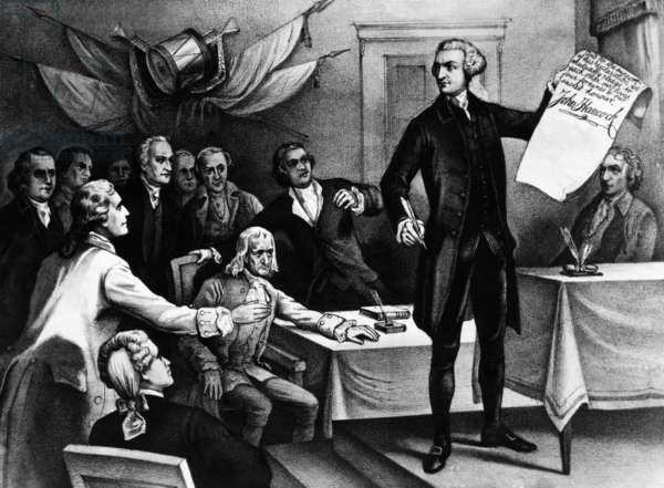 John Hancock signs the Declaration of Independence, 1776