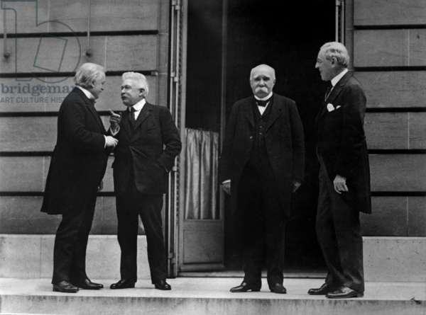 Council of Four of the Peace Conference. Leaders of the Victorious allies of World War I at the Hotel Crillon, Paris, France,