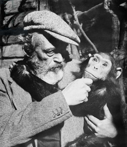 THE BIBLE, director John Huston and friend on set, 1966