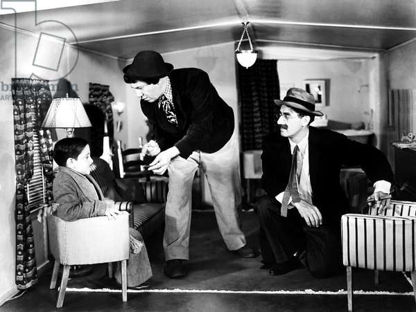 AT THE CIRCUS, from left, Jerry Maren, Chico Marx, Groucho Marx, 1939