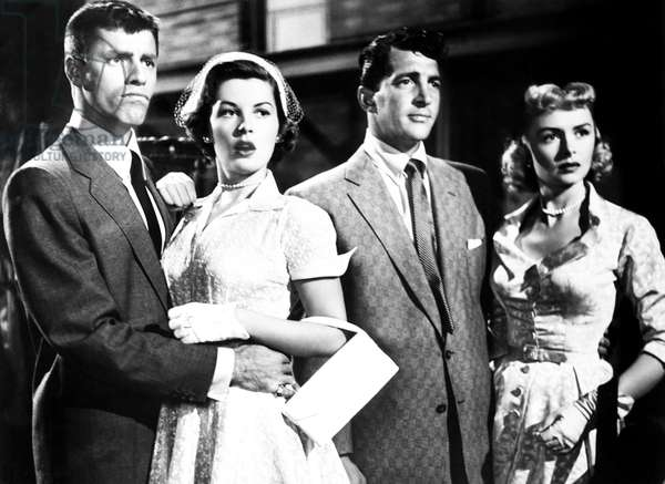 THE CADDY, from left, Jerry Lewis, Barbara Bates, Dean Martin, Donna Reed, 1953