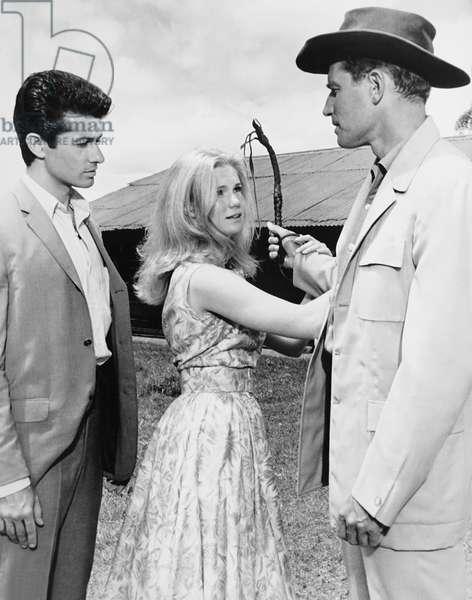 DIAMOND HEAD, from left: George Chakiris, Yvette Mimieux, Charlton Heston, 1962