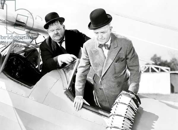 THE BIG NOISE, from left, Oliver Hardy. Stan Laurel, 1944