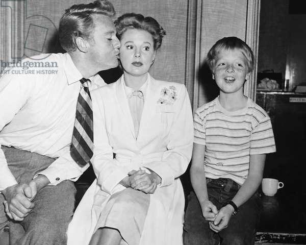 THE BRIDE GOES WILD, from left: Van Johnson, June Allyson, Butch Jenkins on set, 1948