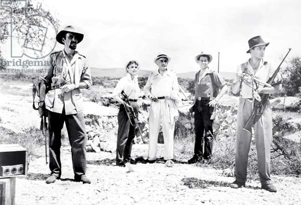 BEYOND MOMBASA, from left, Christopher Lee, Donna Reed, Roy Purcell, Ron Randell, Cornel Wilde, 1956