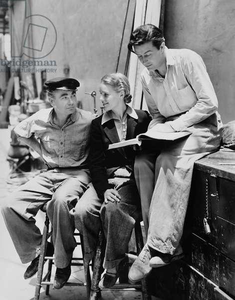 EBB TIDE, from left: Oscar Homolka, Frances Farmer, Ray Milland on set, 1937