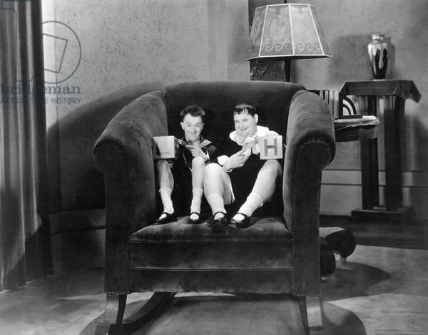 BRATS, from left: Stan Laurel, Oliver Hardy, 1930