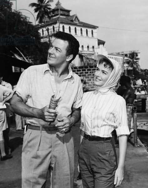 BEYOND MOMBASA, from left: Cornel Wilde, Donna Reed on location in East Africa, 1956