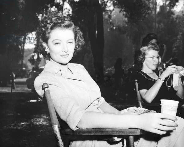THE BACHELOR AND THE BOBBY-SOXER, Myrna Loy on set, 1947
