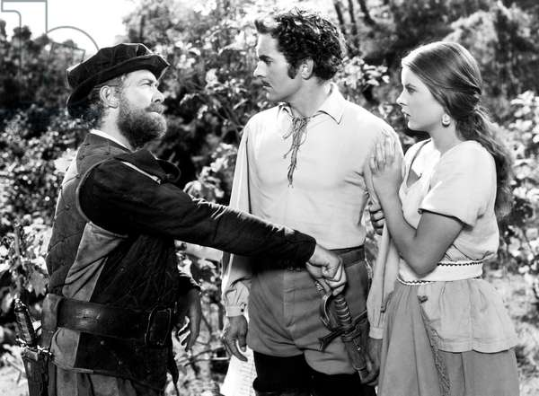 CAPTAIN FROM CASTILE, from left, Roy Roberts,  Tyrone Power, Jean Peters, 1947