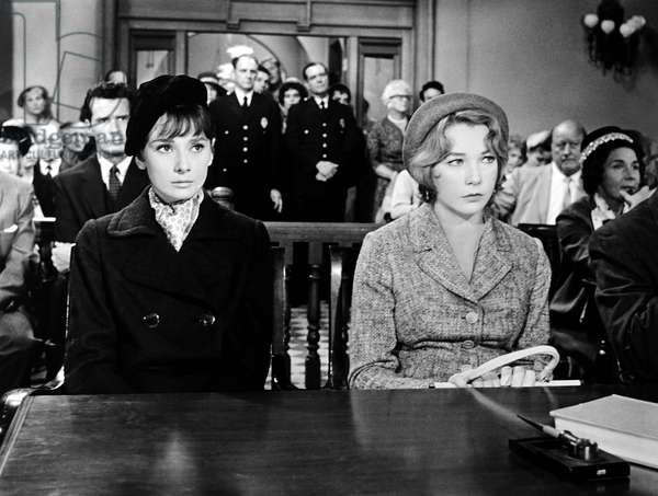 THE CHILDREN'S HOUR, from left, James Garner (back), Audrey Hepburn, Shirley MacLaine, 1961