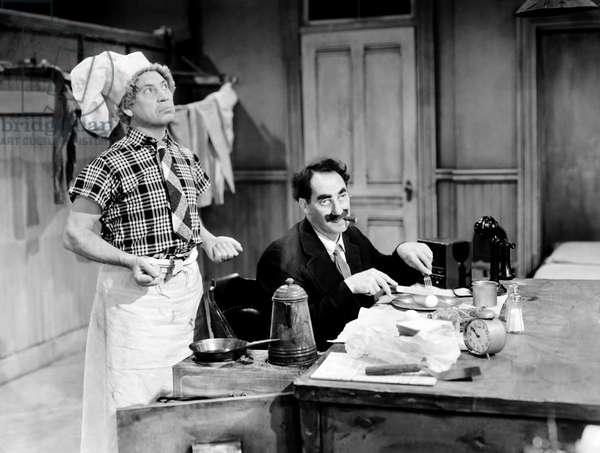 THE BIG STORE, from left, Harpo Marx, Groucho Marx, 1941