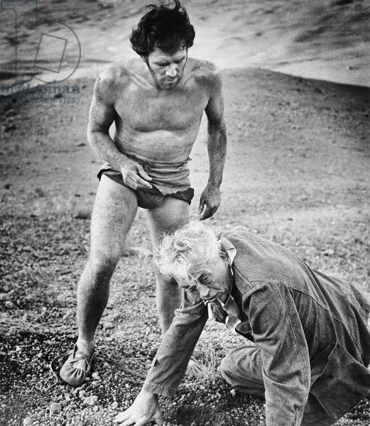THE BIBLE, from left: Richard Harris, director John Huston on set, 1966
