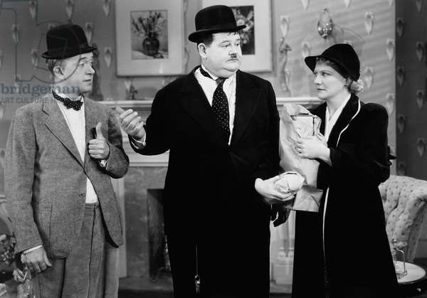 BLOCK-HEADS, from left: Stan Laurel, Oliver Hardy, Minna Gombell, 1938