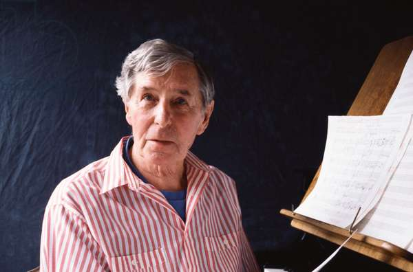 Sir Michael Tippett composing