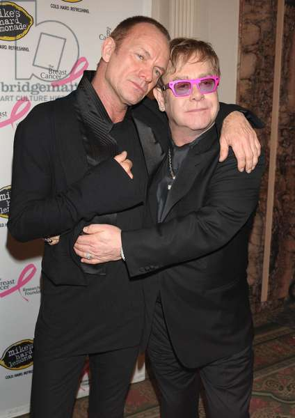 Sting, Elton John at arrivals for Tickled Pink! Hot Pink Party Benefit for The Breast Cancer Research Foundation, Waldorf-Astoria Hotel, New York, NY April 14, 2011. Photo By: Rob Rich/Everett Collection