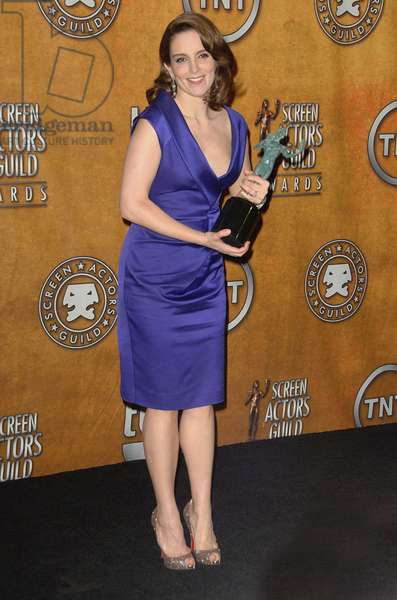 Tina Fey (wearing a Salvatore Ferragamo dress) in the press room for 16th Annual Screen Actors Guild SAG Awards - PRESS ROOM, Shrine Auditorium, Los Angeles, CA January 23, 2010. Photo By: Dee Cercone/Everett Collection