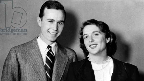 George Bush and wife Barbara, 1945.