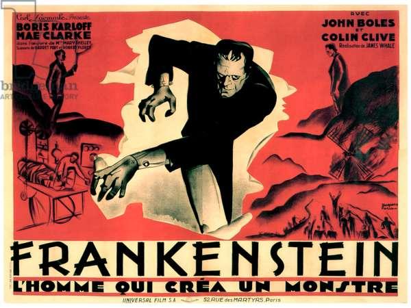 FRANKENSTEIN, Boris Karloff in French poster art, 1931