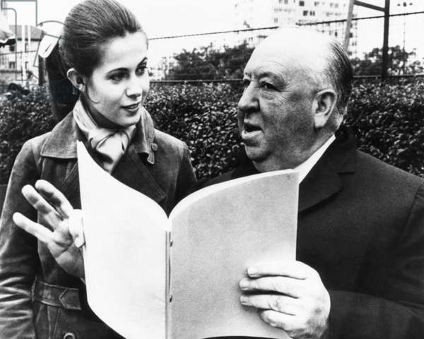 TOPAZ, Claude Jade, director Alfred Hitchcock, rehearsing a scene, on set, 1969