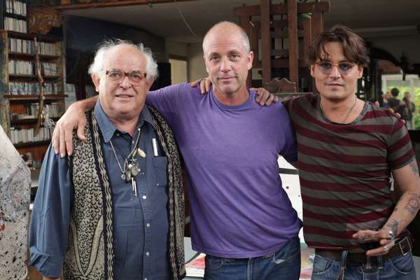 FOR NO GOOD REASON, from left: Ralph Steadman, director Charlie Paul, Johnny Depp, 2012. ph: Lucy Paul/ ©Sony Pictures Classics/Courtesy Everett Collection