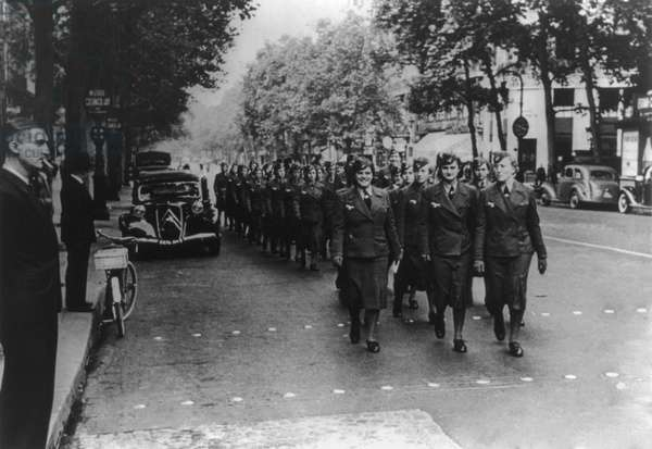 German women members of communications auxiliary: German women members of communications auxiliary in Paris during the Nazi occupation, Aug. 1940. World War 2. (BSLOC_2014_10_210)