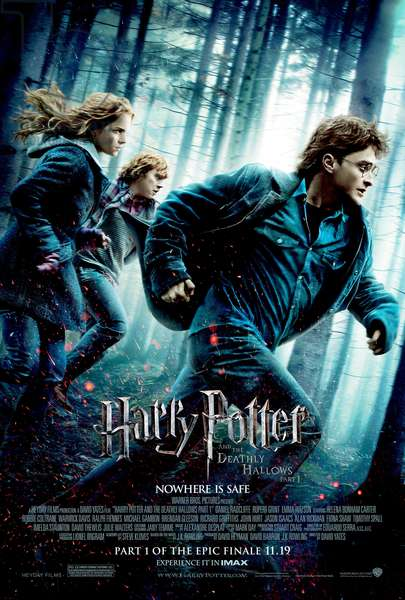 HARRY POTTER AND THE DEATHLY HALLOWS: PART 1, from left: Emma Watson, Rupert Grint, Daniel Radcliffe, 2010. © 2010 Warner Bros. Ent. Harry Potter publishing rights ©J.K.R. Harry Potter characters, names and related indicia are trademarks of and © Warner Bros. Ent. All rights reserved./Courtesy Everett Collection