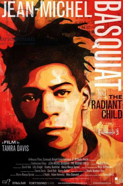 Jean- Michel Basquiat: The Radiant Child: JEAN-MICHEL BASQUIAT: THE RADIANT CHILD, Jean-Michel Basquiat on poster art, 2010, ©Arthouse Films/courtesy Everett Collection