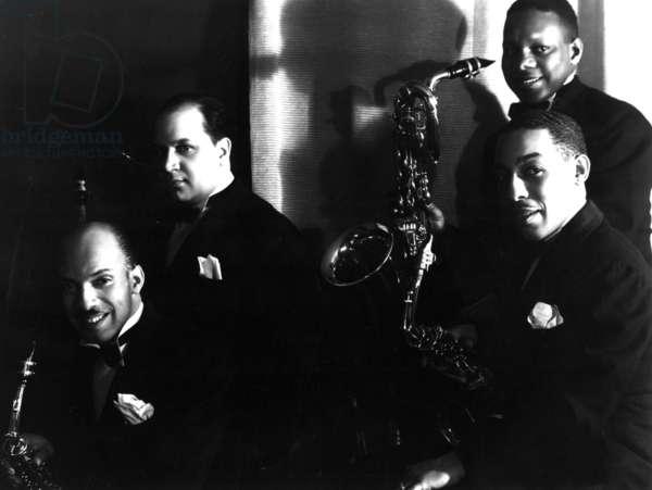 DUKE ELLINGTON ORCHESTRA SAX SECTION: Otto Hardwicke, Barney Brigard, Johnny Hodges, Harry Carney, 1938